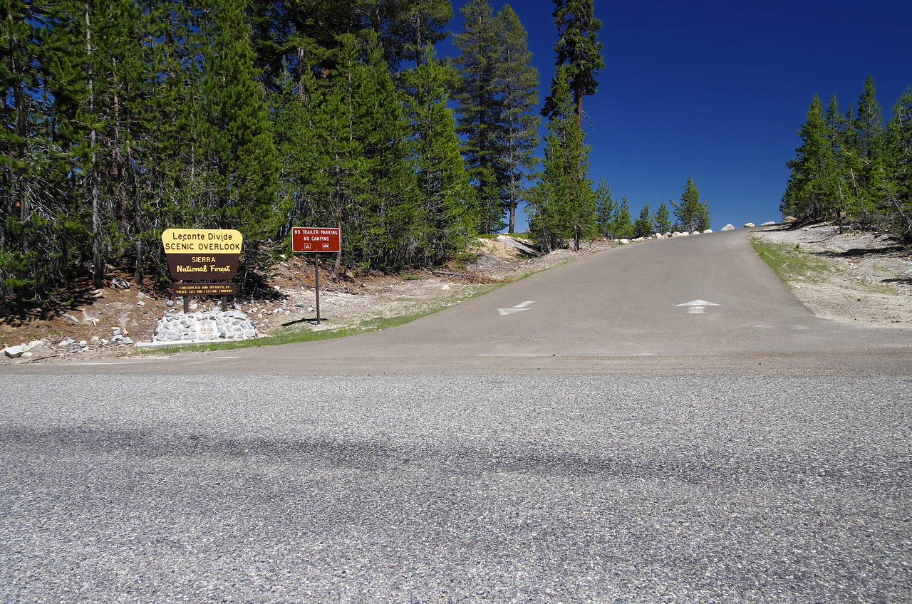 "The Le Conte Divide Overlook.  You think that the forestry service would get the Le separated from Conte, with a capital L and C, on the sign.  ""Our Tax Dollars at Work.'"