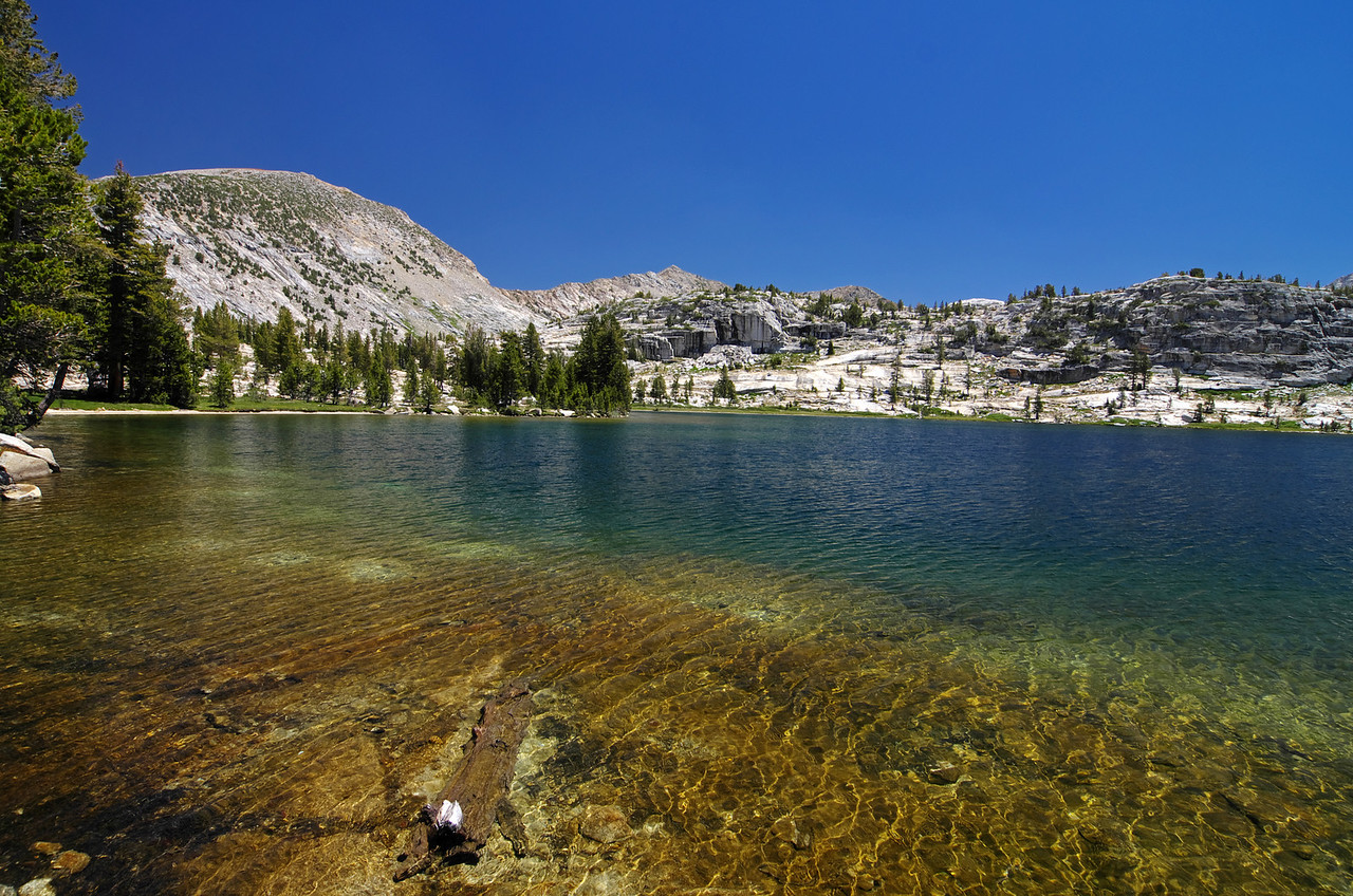 About 13 ¾ miles in, I reach the first lake in the Red Mtn Basin—Disappointment Lake.
