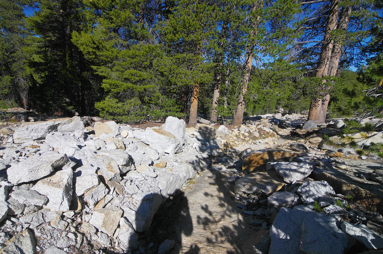 The one thing I can't forget about this trail--the blasted rock near the start of the 1,100ft climb in the first two miles beyond Post Coral Creek.