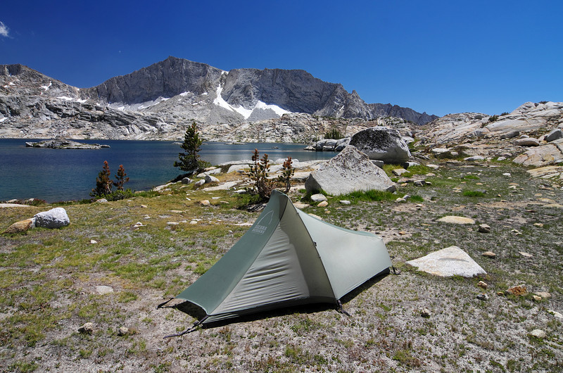 My 3 ¾ lb ultra-light, one-man tent, provides a small place where I can leave my unnecessary gear while I scale some mountains and make some cross country travel to get some nice views of the area.