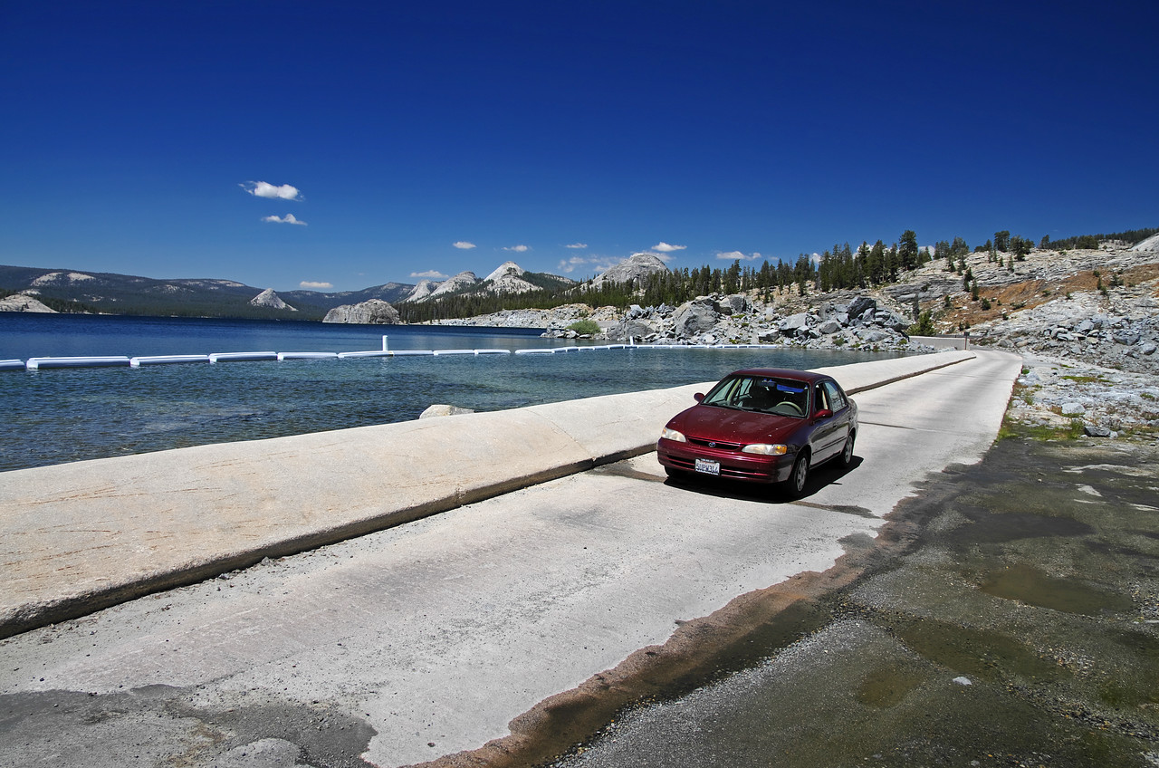 My car and the Courtright Reservoir Spillway.