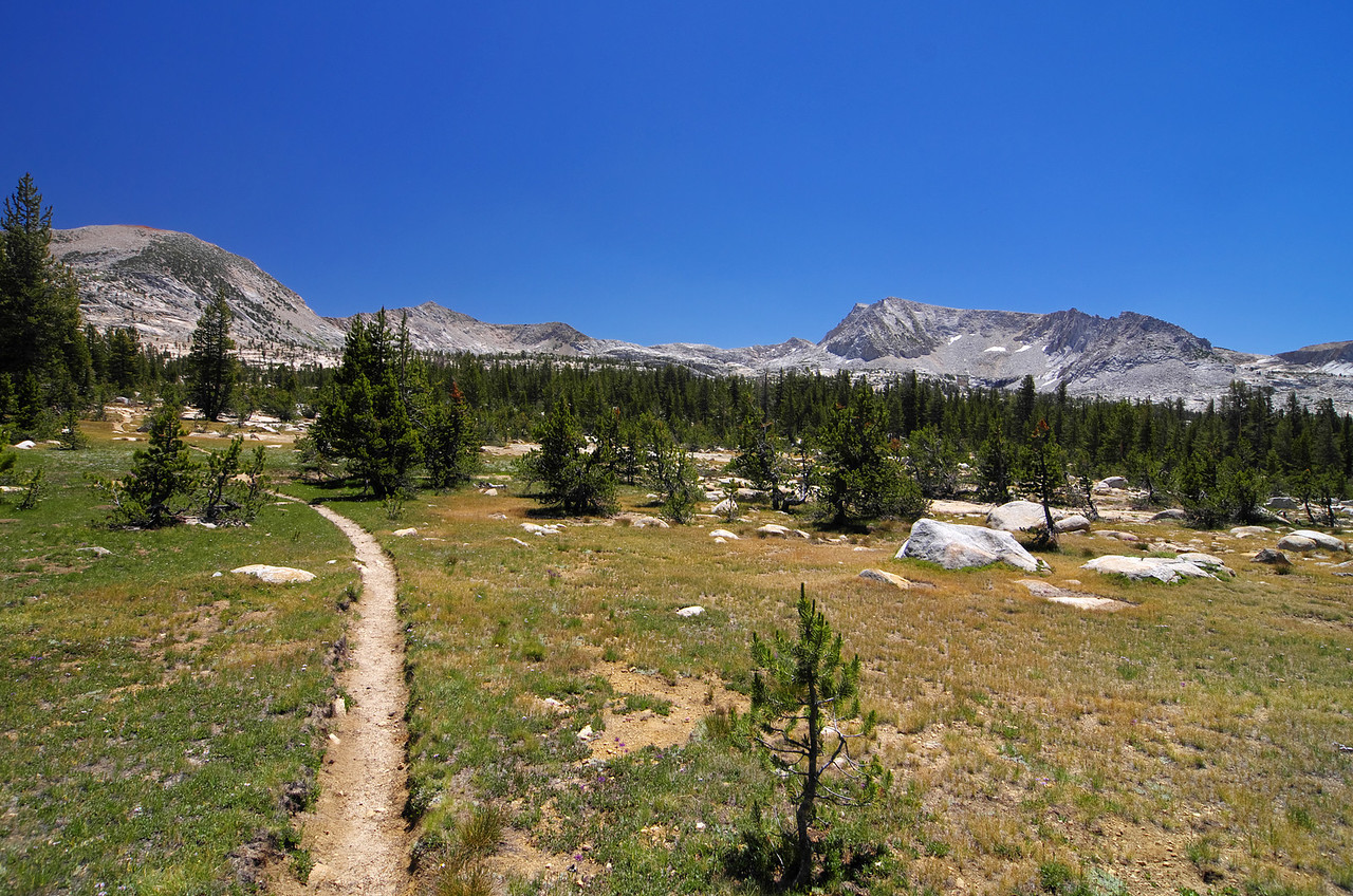 After a serious 400ft climb, the trail drops about 50ft and levels out around 13 miles in and around 10,150ft with a clear sight of Hell for Sure Pass and the begining of the Red Mtn Basin.