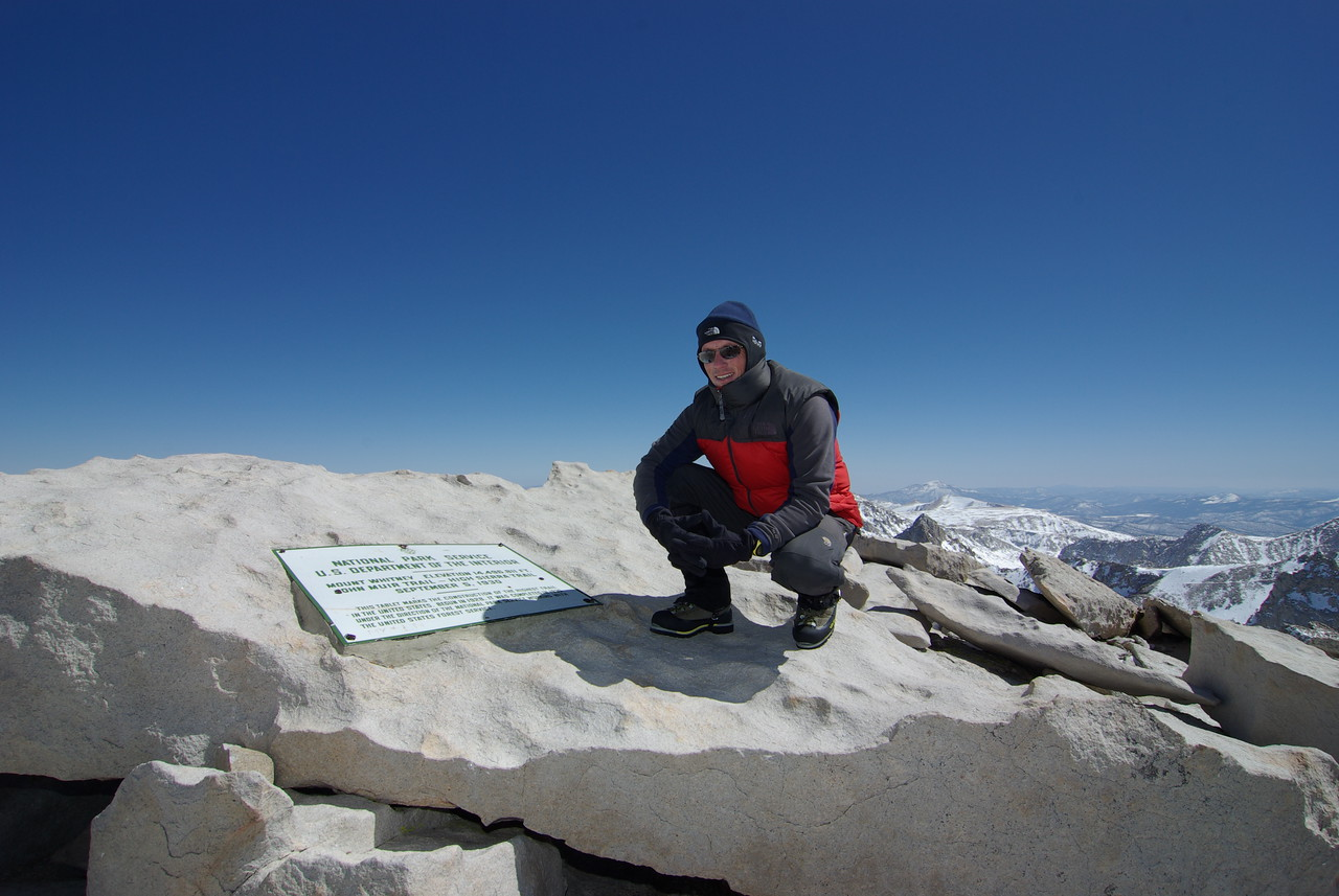 Me atop of Mt Whitney on April 4th, 2009.  Daytime Low/High Temperature 5°F/32°F, Minumum/Maximum Altitude 12,800ft/14,505ft.