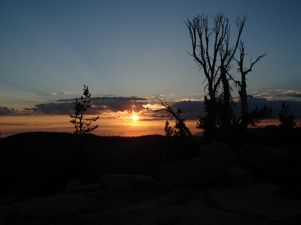 Sunset on the Ridge North of Island Lake in the Dinkey Lakes Wilderness, July 2006