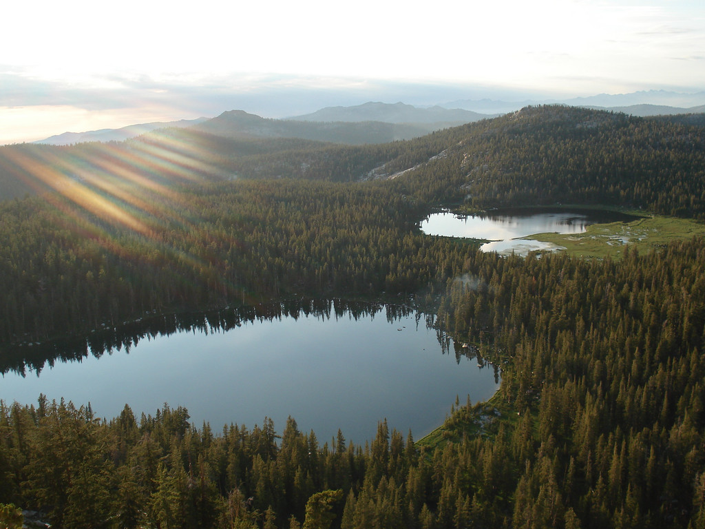 Looking over South Lake & the 1st Dinkey Lakes near Sunset