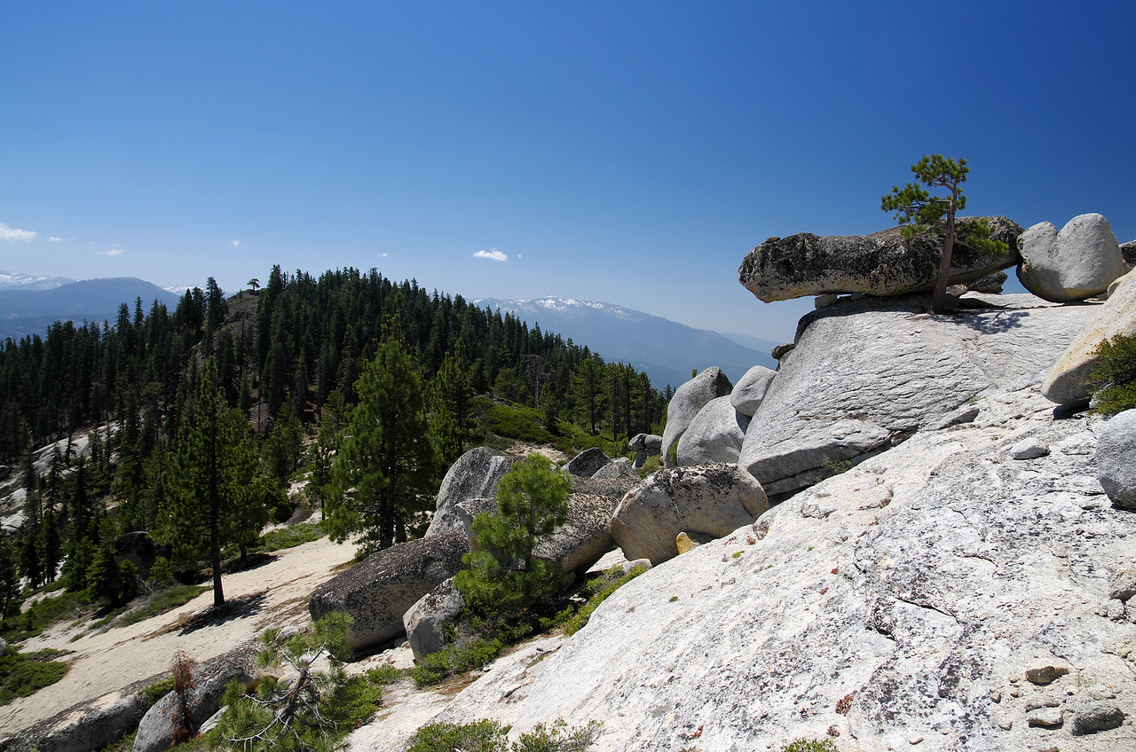 A rock perched precariously about 50ft from the summit of Squaw Dome.
