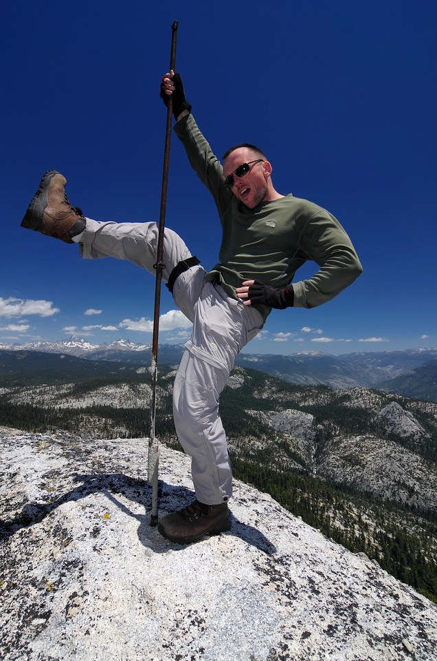 I was trying to get my leg all the way up the pole, but remembered I had to climb back down the mountain.