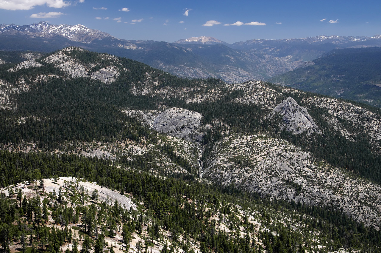 Atop of Squaw Dome and looking down onto Granite Creek.  Follow it up and to the horizon and you'll find Mammoth Mtn.