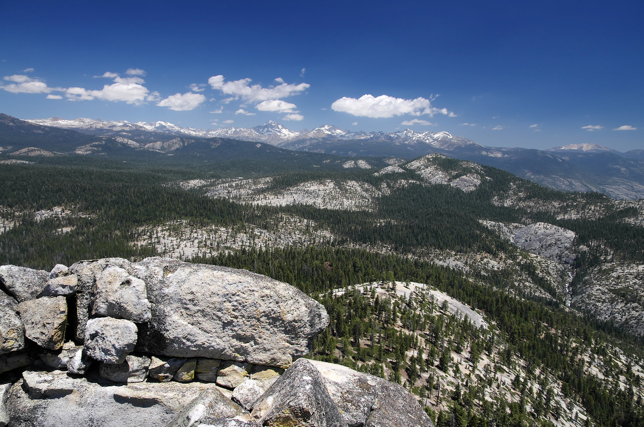 The view looking North and slightly East at; Mt Ritter, The Mammoth Minarets, and Mammoth Mountain.
