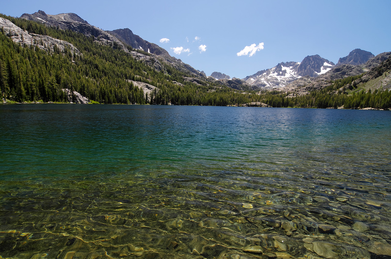 Shadow Lake; Volcanic Ridge, part of the Mammoth Minarets, Mount Ritter, and Banner Peak off in the distance.