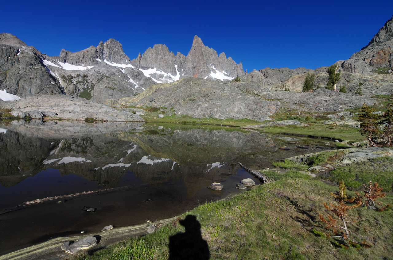 The Mammoth Minarets reflect off of the calmness of a pond above Minaret Lake near the SW slopes of Volcanic Ridge.