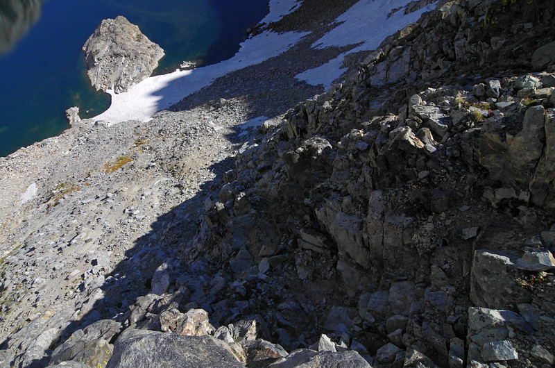 I chose the steepest route down to Iceberg Lake from Cecil Lake and did a lot of down climbing on my way to more two-footed travel.