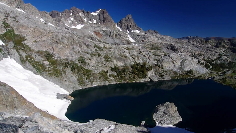 A look down onto Iceberg Lake before I make the slightly technical descent.
