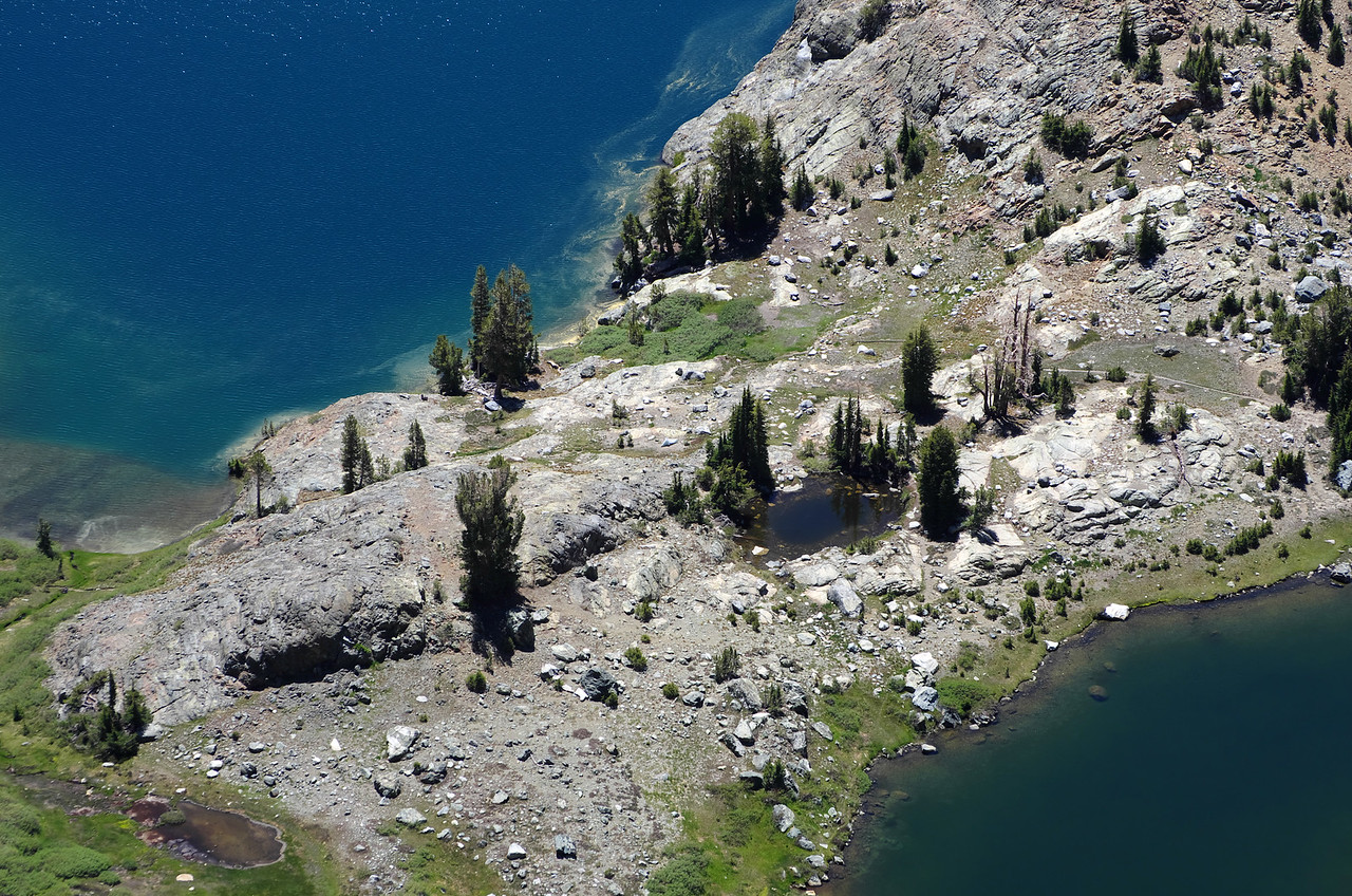 Looking down onto my tent that sits on the peninsula at Minaret Lake.