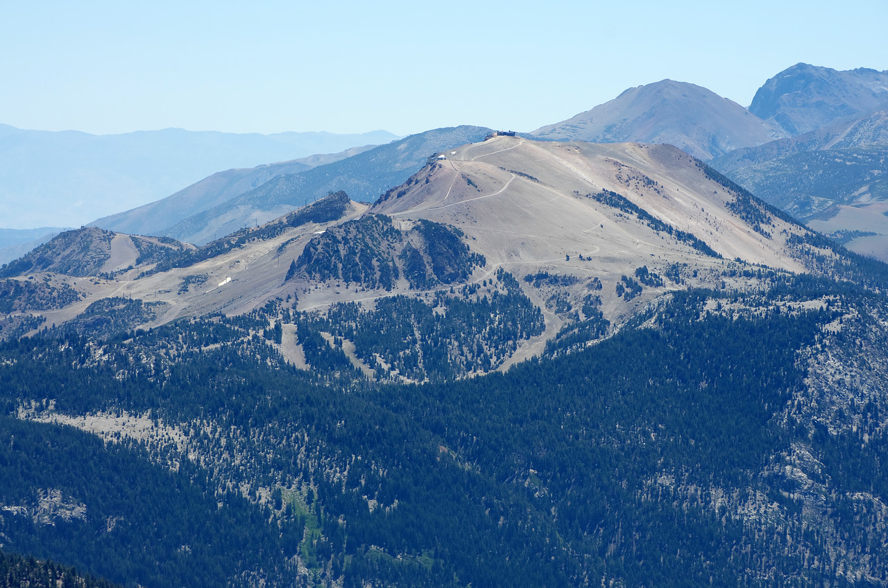 My 2nd-lowest handle view atop of Volcanic Ridge is around 11,200ft.  Mammoth Mountain as seen in the distance from my vantage point, sits at 11,053ft.