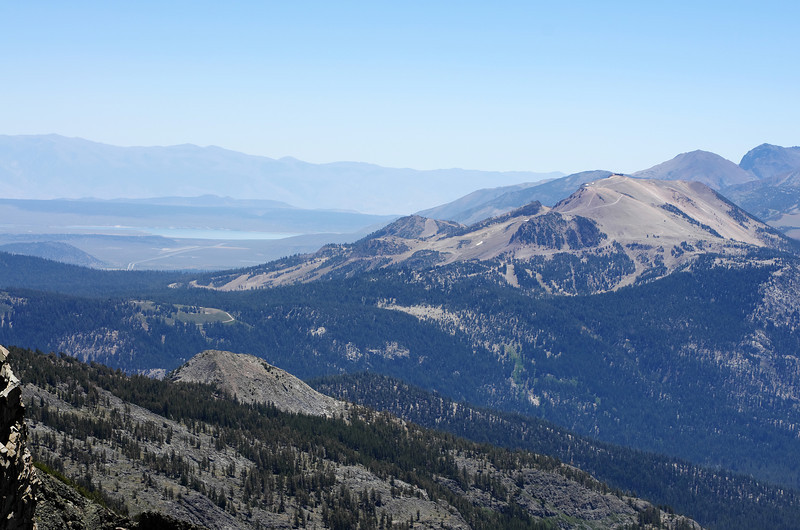 My 2nd-lowest handle view atop of Volcanic Ridge is around 11,200ft.  Lake Crowley as seen in the distant left of this picture sits at 6,768ft and Mammoth Mountain in the right-hand portion of this picture sits at 11,053ft.