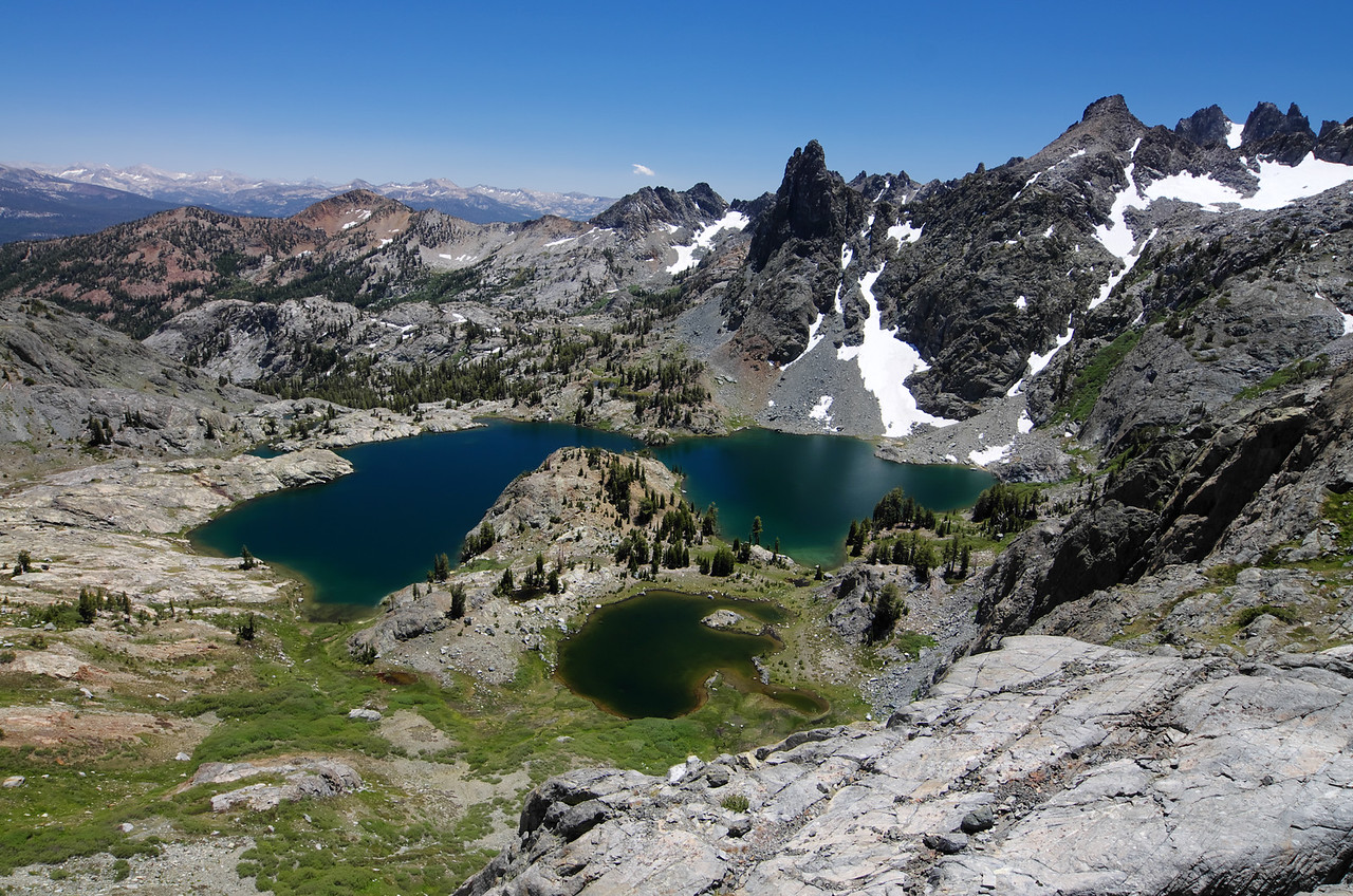 Minaret Lake as seen from above and below Volcanic Ridge.