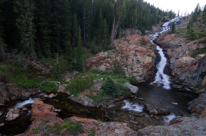 The waterfall along the way to Minaret Lake.  About 8:30pm Friday Night.