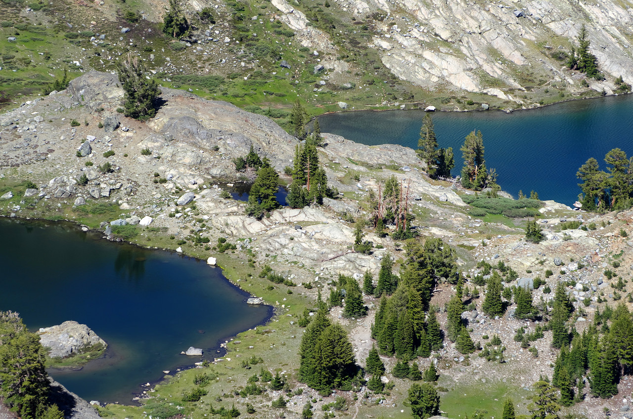 Looking down at my tent on the penisula at Minaret Lake from near the base of the Kehrlein Minaret.