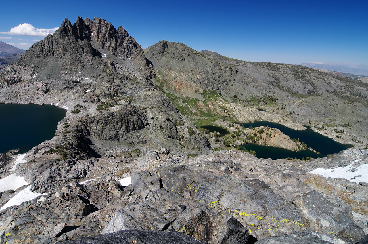 The relationship between Cecil Lake, Volcanic Ridge, and Minaret Lake as seen from near the base of the Kehrlein Minaret.