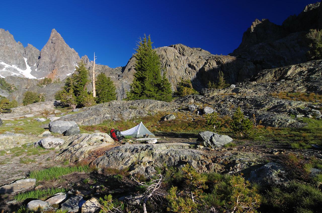My campsite on the peninsula at Minaret Lake.