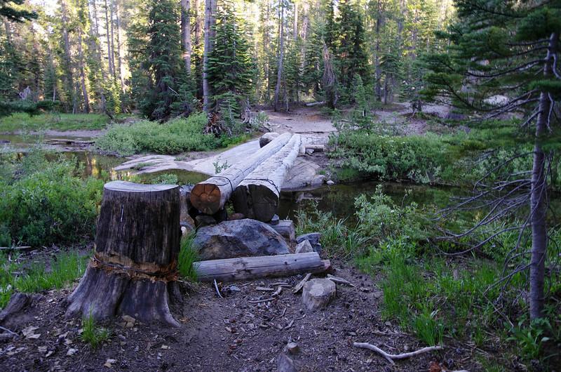 Where the Minaret Lake Trail crosses Minaret Creek.
