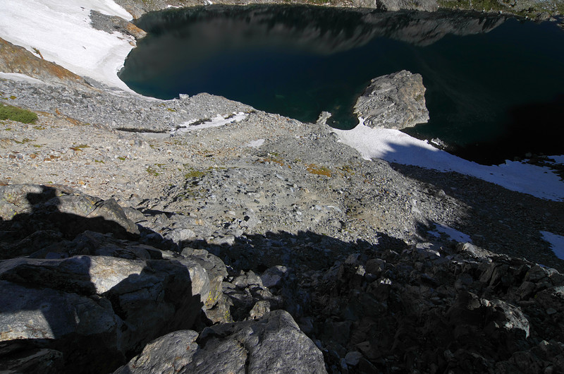 My chosen descent into Iceberg Lake from Cecil Lake.
