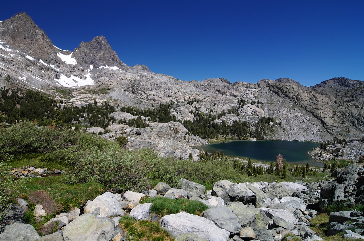 Mount Ritter, Banner Peak, and Ediza Lake.