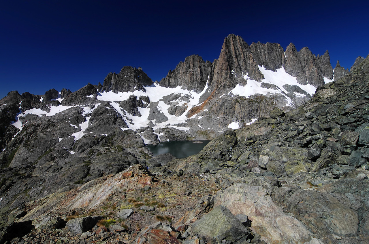 Cecil Lake comes into view along my climb of Volcanic Ridge.
