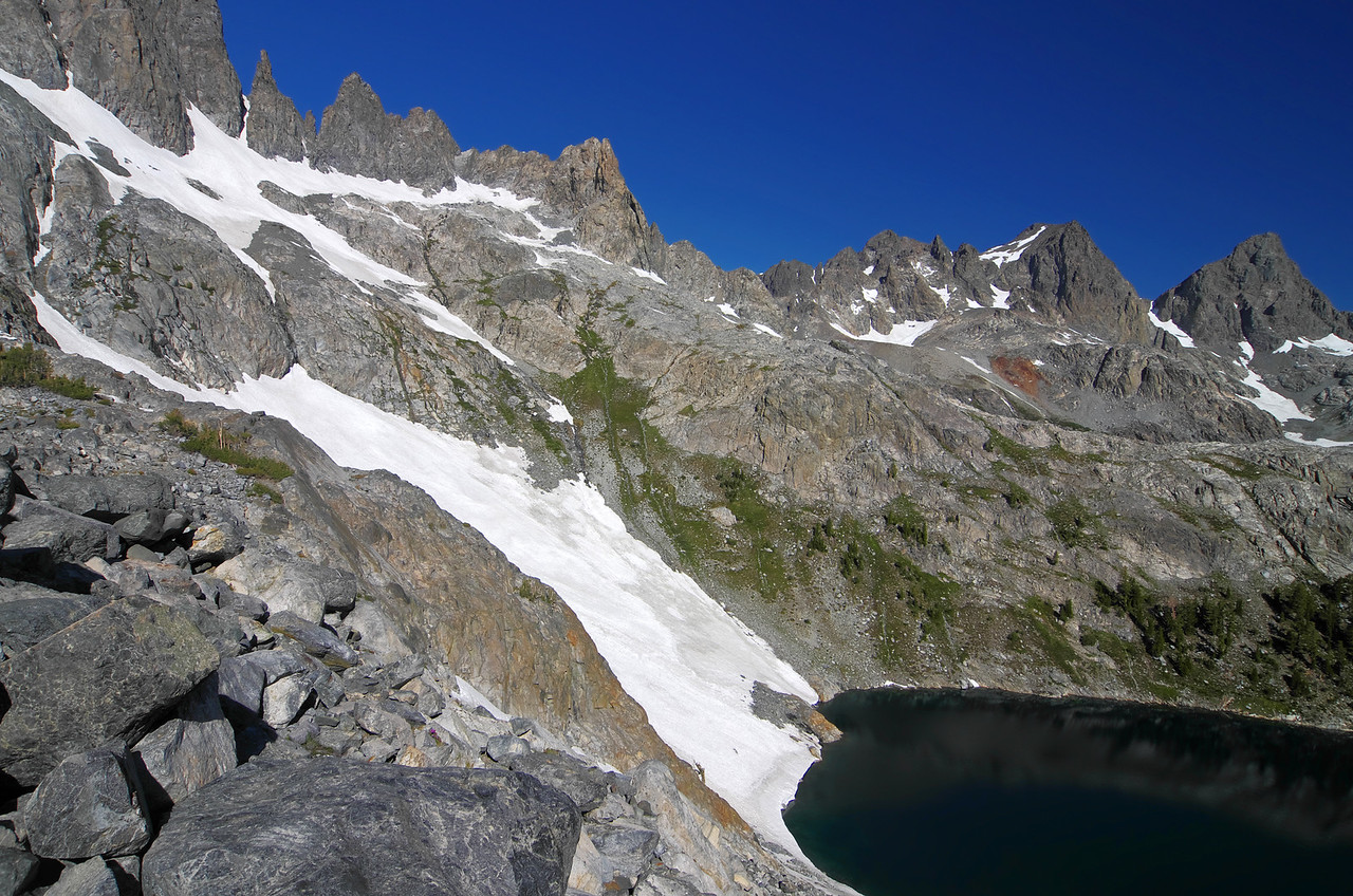 The descent into and from Iceberg Lake can be steep depending on which route you take.