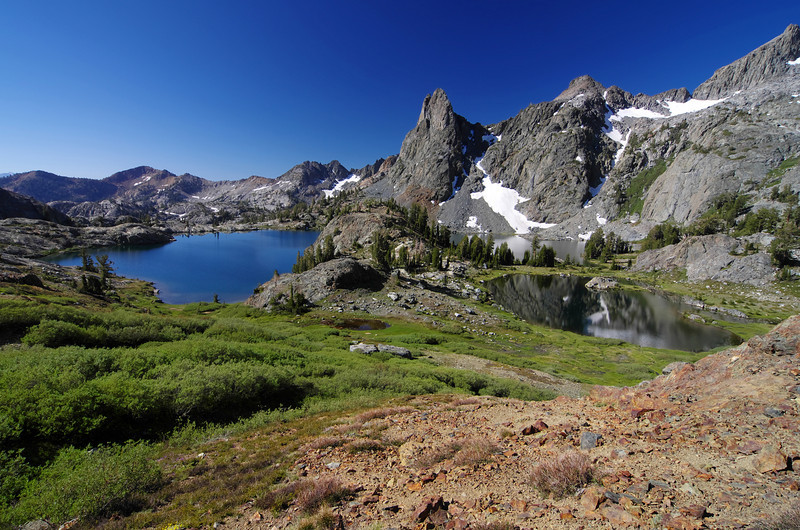 I start to distance myself from Minaret Lake as does the angular perspective of the Lake change, as I climb higher along Volcanic Ridge.