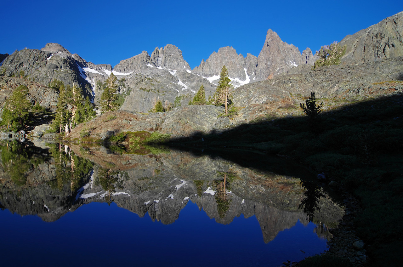A nice rich reflection of the Mammoth Minarets of the SE end of Minaret Lake.