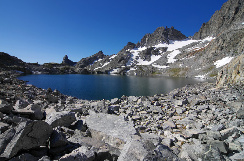 One last look at Cecil Lake before I descend into Iceberg Lake.