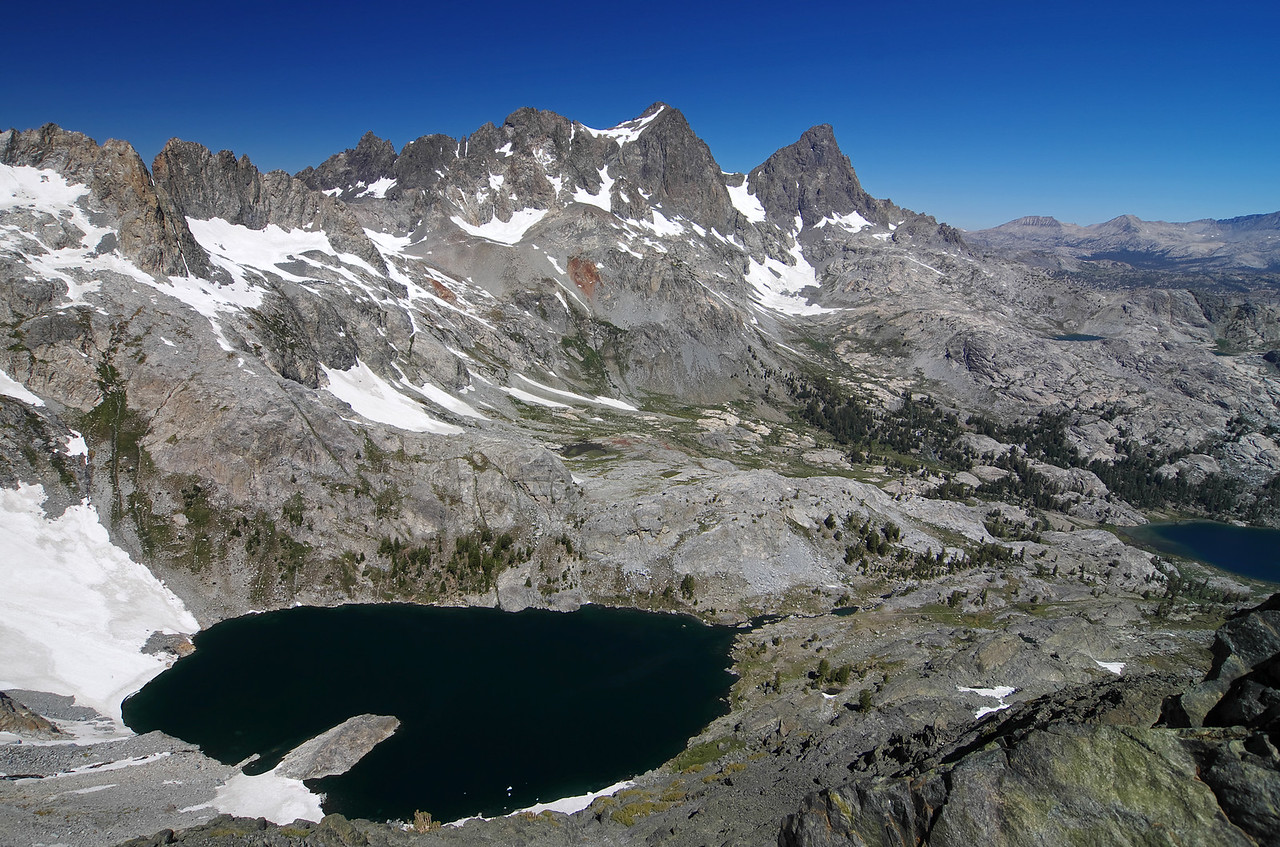 Iceberg Lake down below, with Mount Ritter and Banner Peak towering above and 1/2 of Ediza Lake in the righthand portion of this picture.  A portion of the upper Nydiver Lake can also be seen in this picture below Banner Peak.