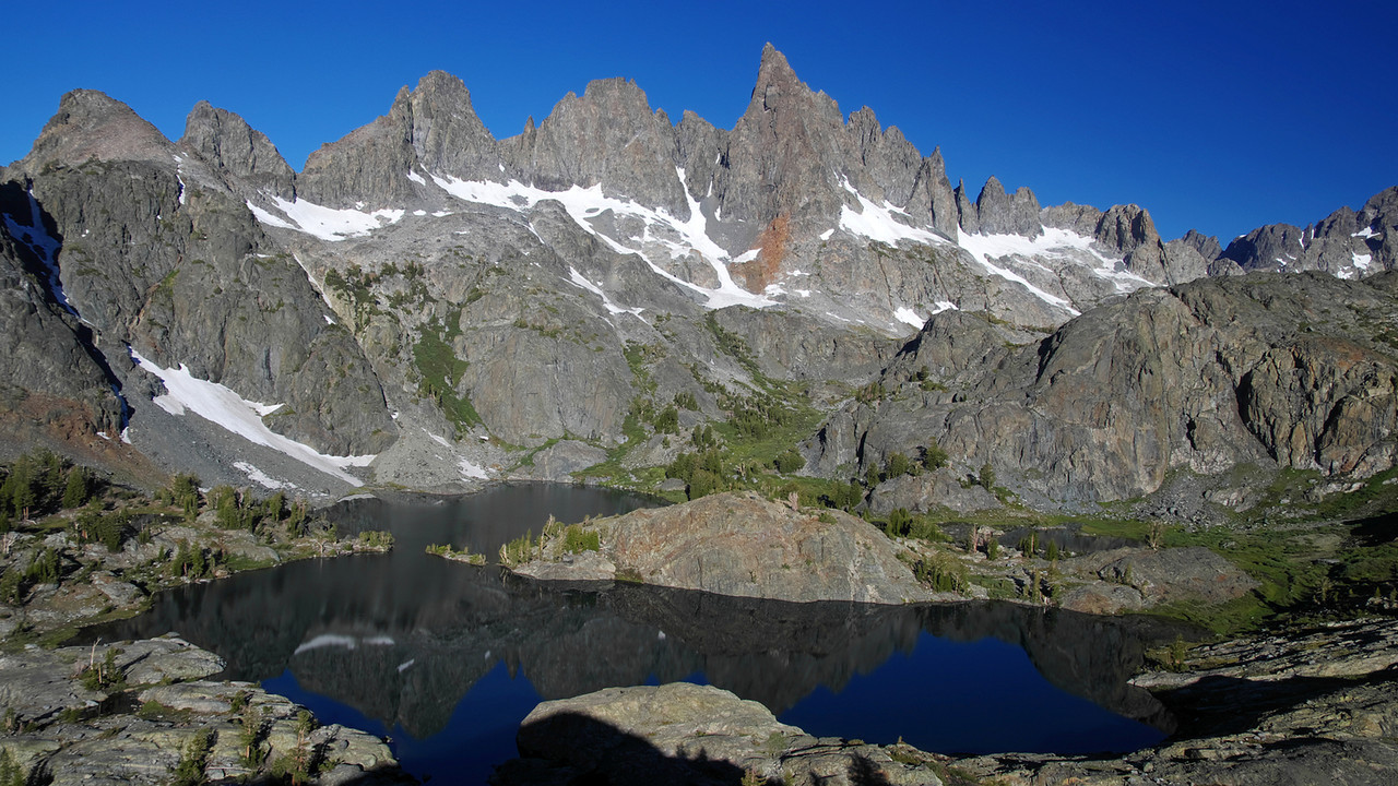 Overlooking Minaret Lake from a nearbye peak SE of the lake.