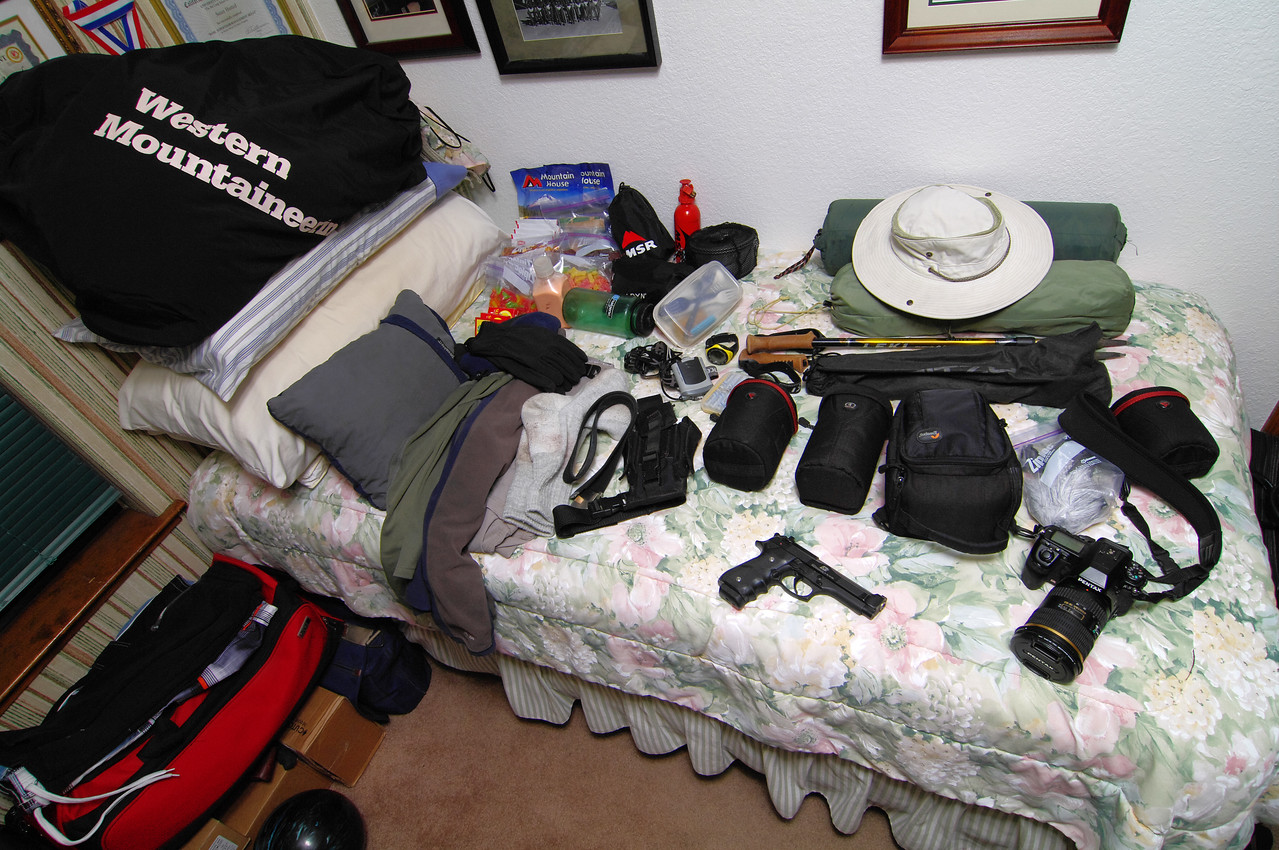 My gear selection:  With; about 1/2 the distance and 1,000ft less elevation of climb with the full pack over the last overnight trip, and no additional gear for cold-weather mountaineering, I'm bringing all of my gear.  My Tripod, medium telephoto lens, and gun would be my luxury items.  However after seeing how good the pictures were with the 1 ½ lb telephoto lens, I've decided that I'll be bringing it on all my backpacking trips regardless of the extra 1 ½ lbs of gear—it's just too awesome to leave behind.