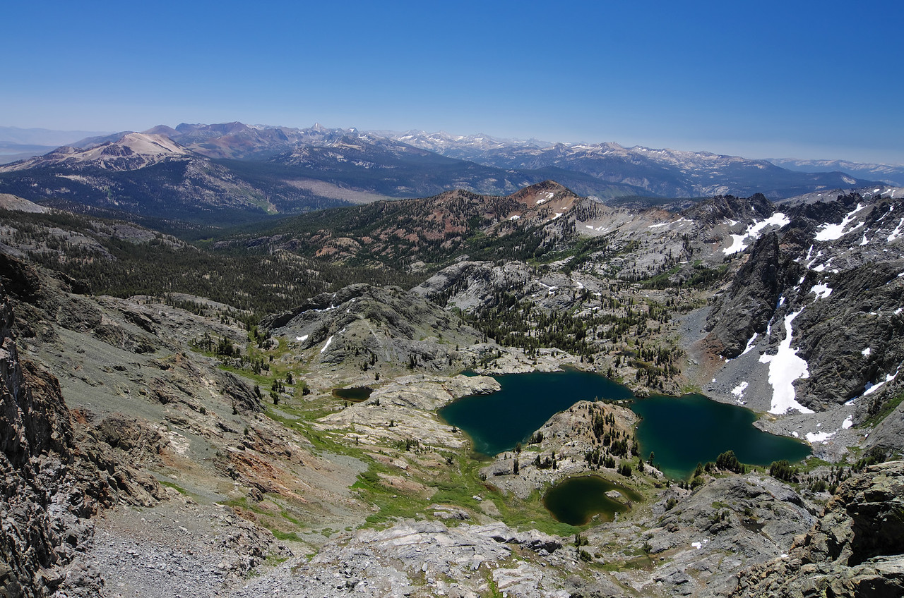 Looking SE off of my vantage point from atop of Volcanic Ridge with Mammoth Mountain and Minaret Lake standing out as two easily identifiable points of reference.