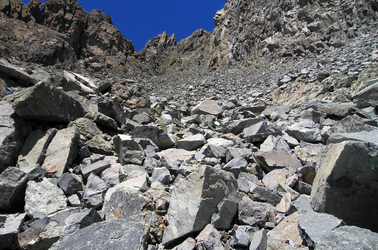 A look back up the hill at the class 1-2 rubble as I descend Volcanic Ridge.
