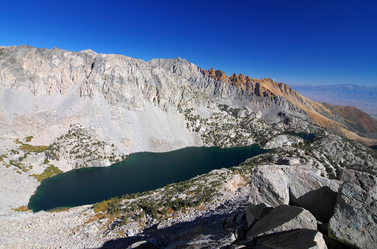Looking down on the upper and lower Lamarck Lakes.  Mount Emerson in the distance.
