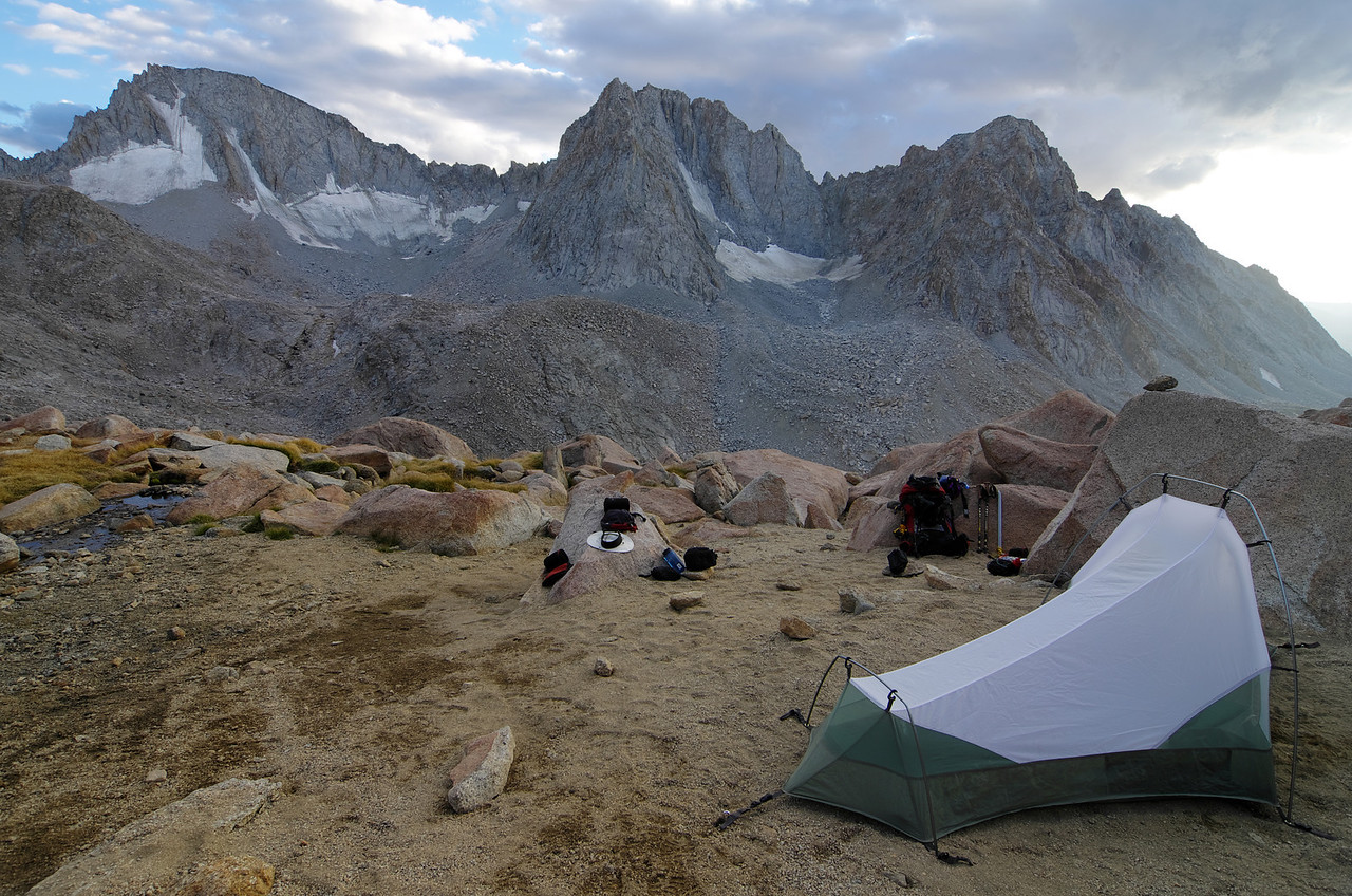 My base camp about 600ft below the ridge/boundary of Kings Canyon NP, and near Lamarck Col, offers an astounding view of this north most area of Kings Canyon National Park.  Green flag on the MAP.