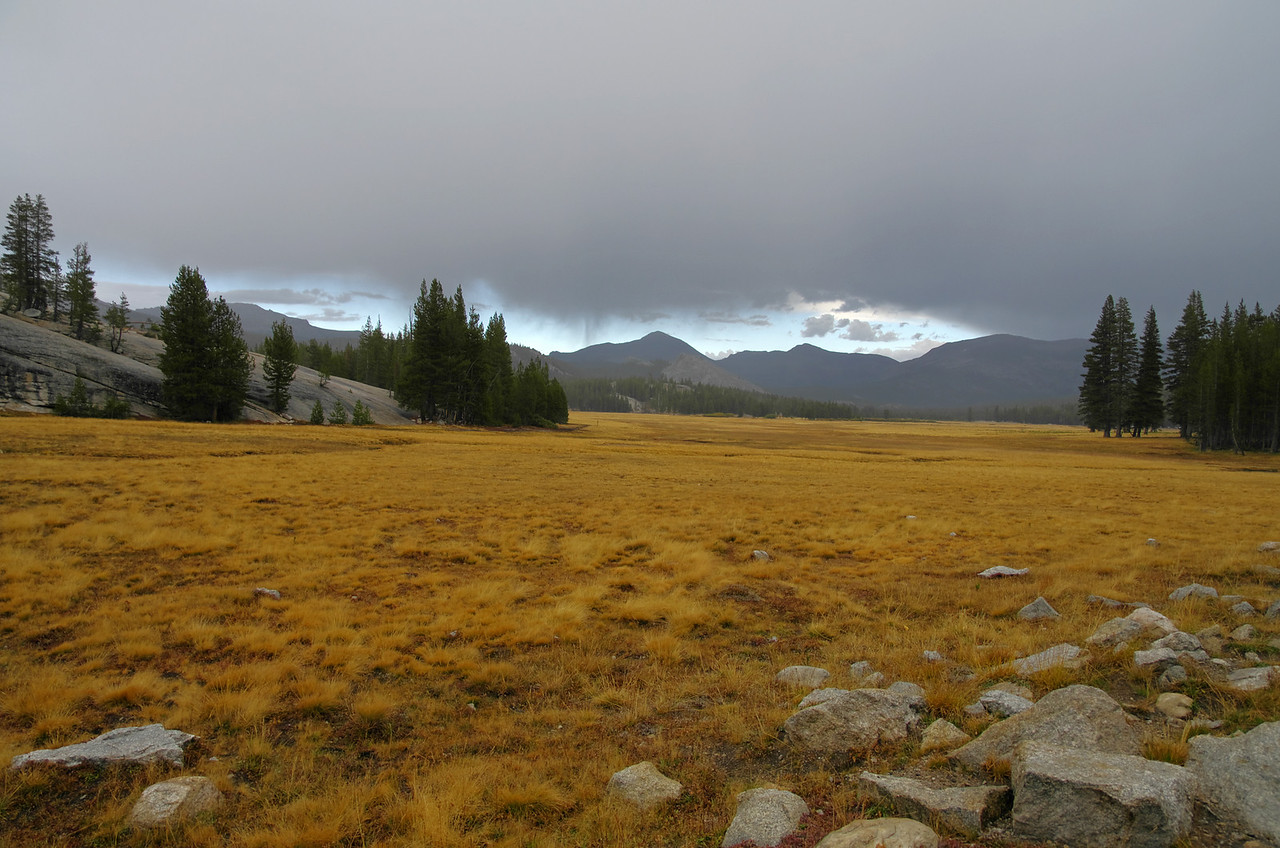 A little rain going over the Sierra Crest along Tioga Rd near Tuolumne Meadows as depicted here