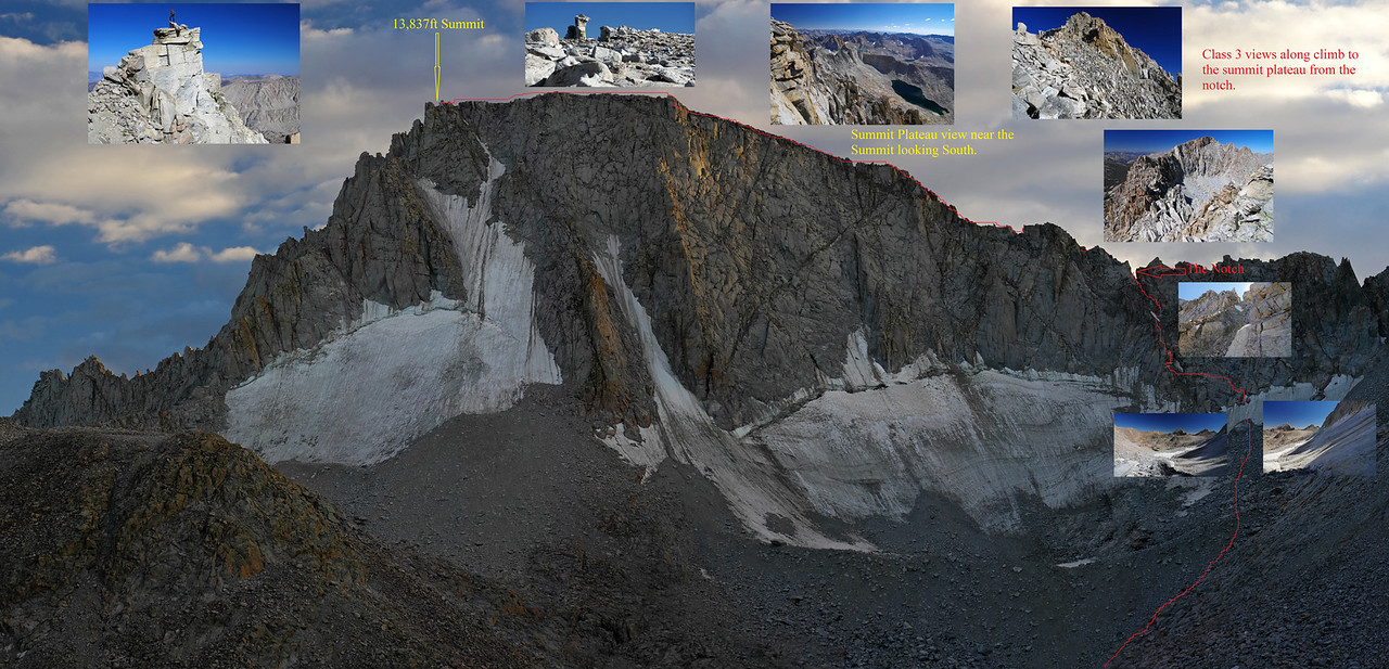 The Glacier Route illustrated on Mount Darwin, with a shorter more direct approach to the class 3 that leads to the Notch over the glacier which is in a very icy and dangerous state.