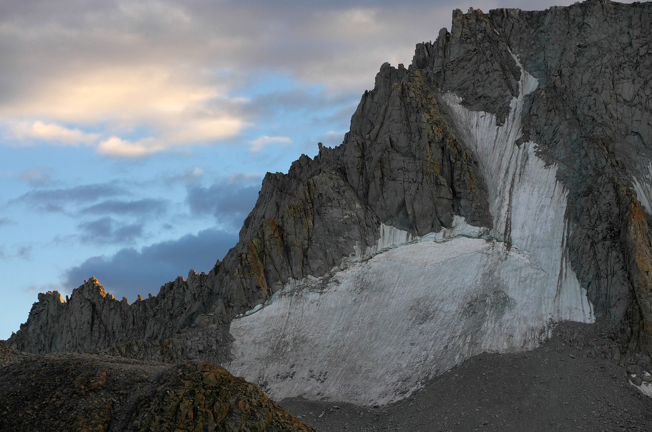 The North Face of Mount Darwin and the glaciers that stick to its steep slope along this side of the mountain.
