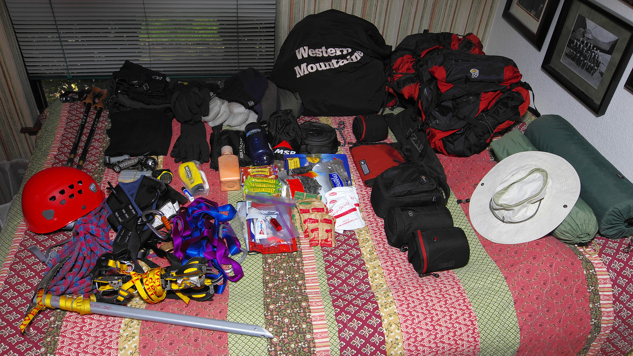 About 95% of my gear laid-out prior to the adventure.