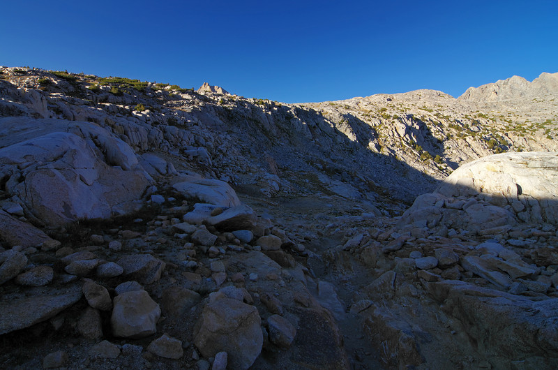 The sun is setting quickly as I make my descent down the Piute Pass trail from Piute Pass, 5:23pm.