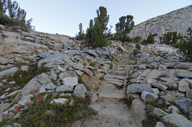 A few last flights of stairs before you reach Piute Pass.