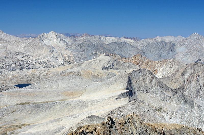 Bear Creek Spire and Four Gables as seen from the summit of Mount Humphreys.