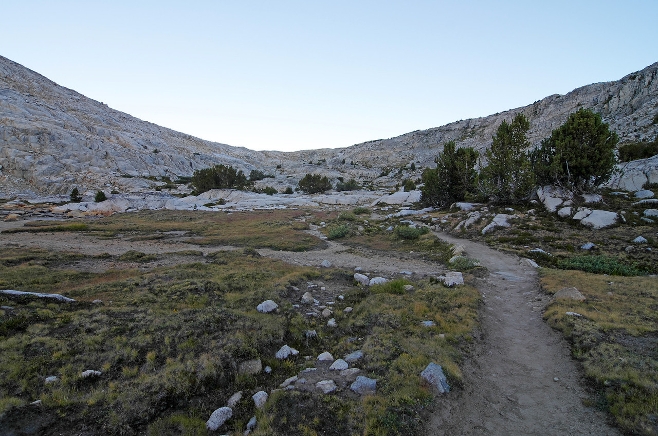 I approach Piute Pass about 5 minutes before 7am.