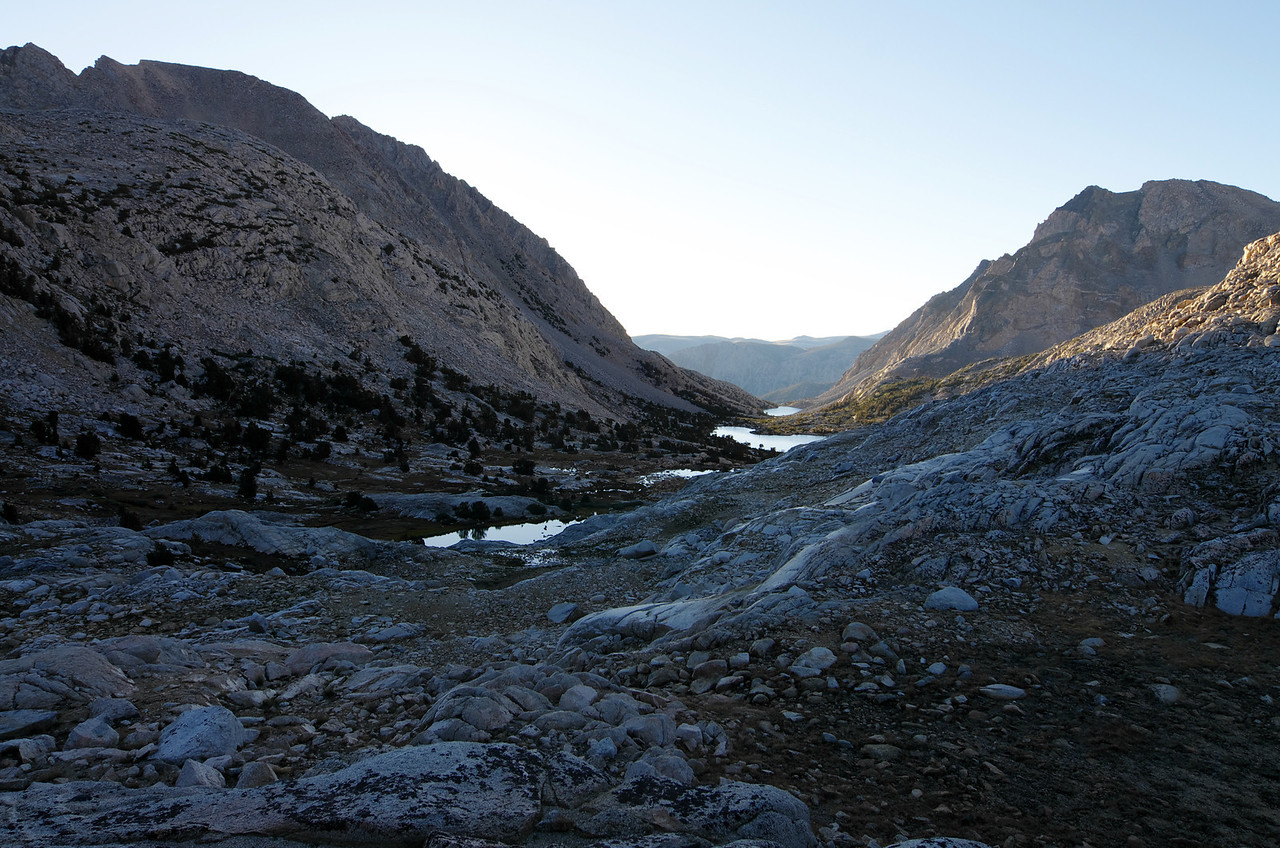 Looking down on Piute Lake and Loch Leven from Piute Pass~7:15am.
