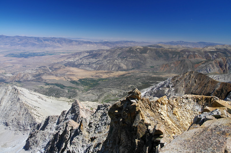 Looking East from the summit of Mount Humphreys with the city of Bishop in the upper left of the picture.